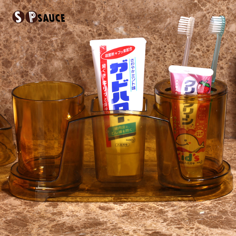 SP SAUCE情侣洗漱杯牙刷牙杯架洗漱收纳漱口杯套装牙缸牙膏置物架,可领取3元天猫优惠券