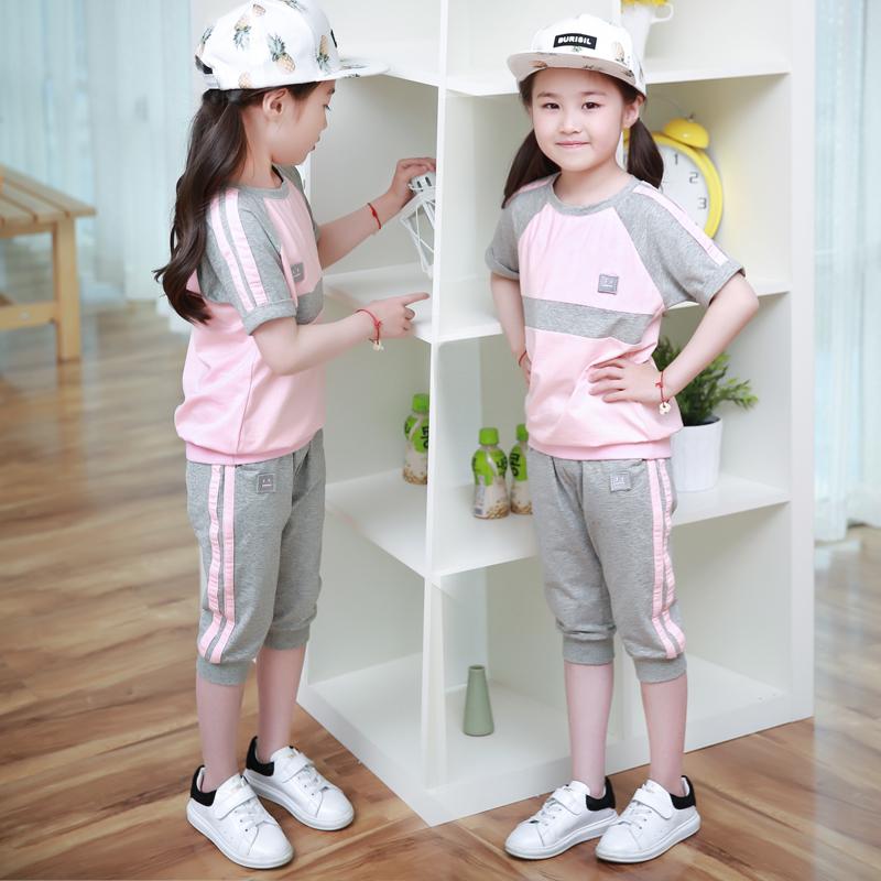 (用220.5元券)女童运动套装夏2019新款中大童儿童夏季七分裤韩版宽松休闲两件套