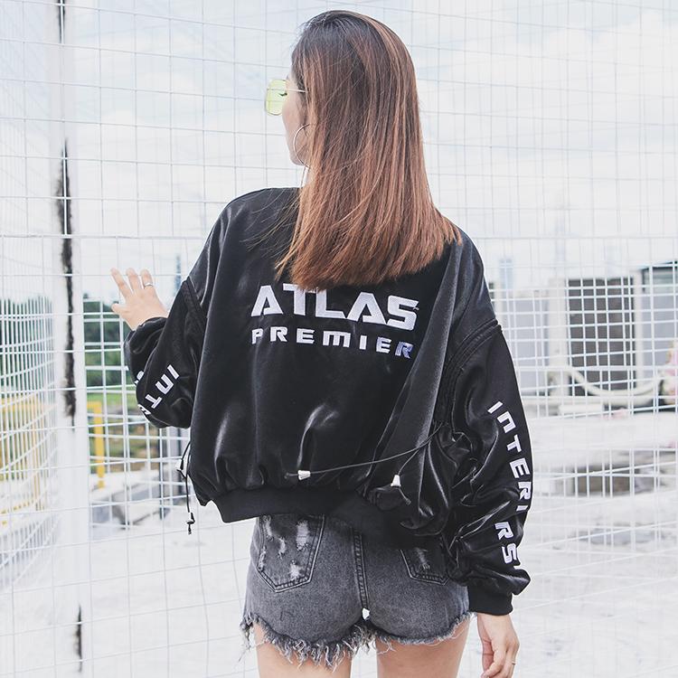 2018春秋新款学生韩版棒球服女装宽松刺绣飞行员夹克BF短款外套潮