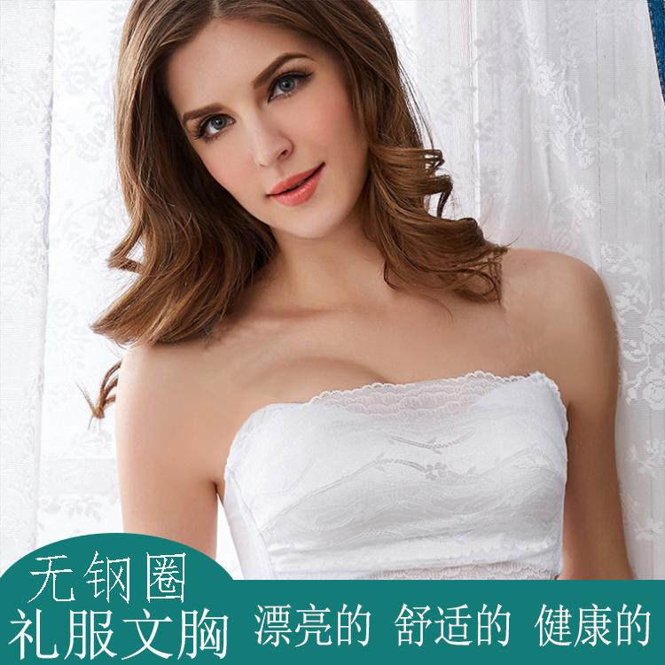 加厚抹胸式无钢圈文胸婚纱礼服无肩带聚拢防走光薄款蕾丝抹胸罩