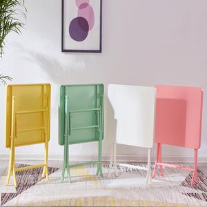 折叠桌折叠桌子餐桌家用小方桌铁艺小圆桌阳台奶茶店桌椅组合简约