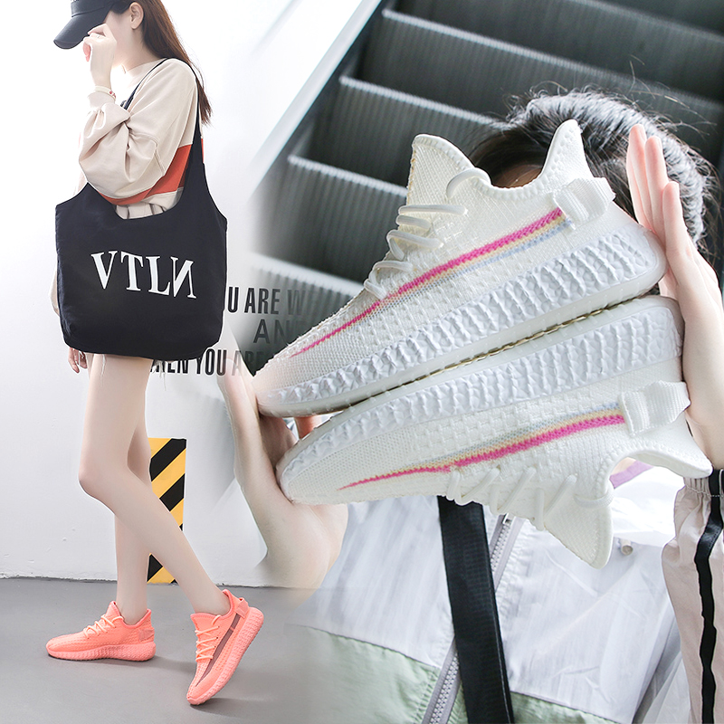 Coconut shoes women chameleon dragon fly woven mesh surface breathable sports casual shoes new versatile small white shoes women in 2019 summer