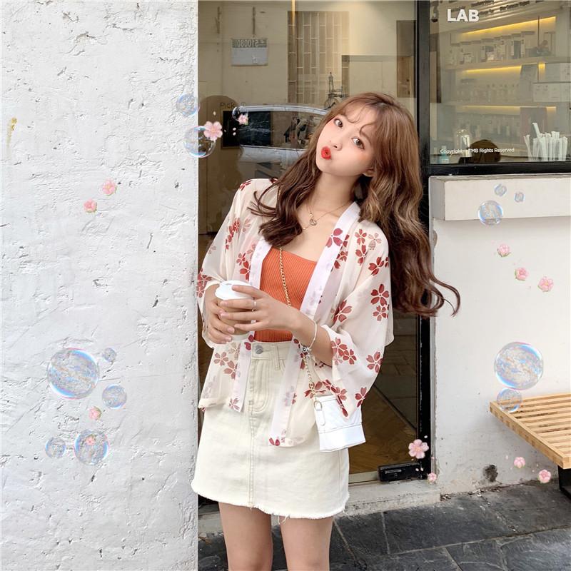 新款韩版雪纺七分袖碎花防晒衣+吊带打底衫