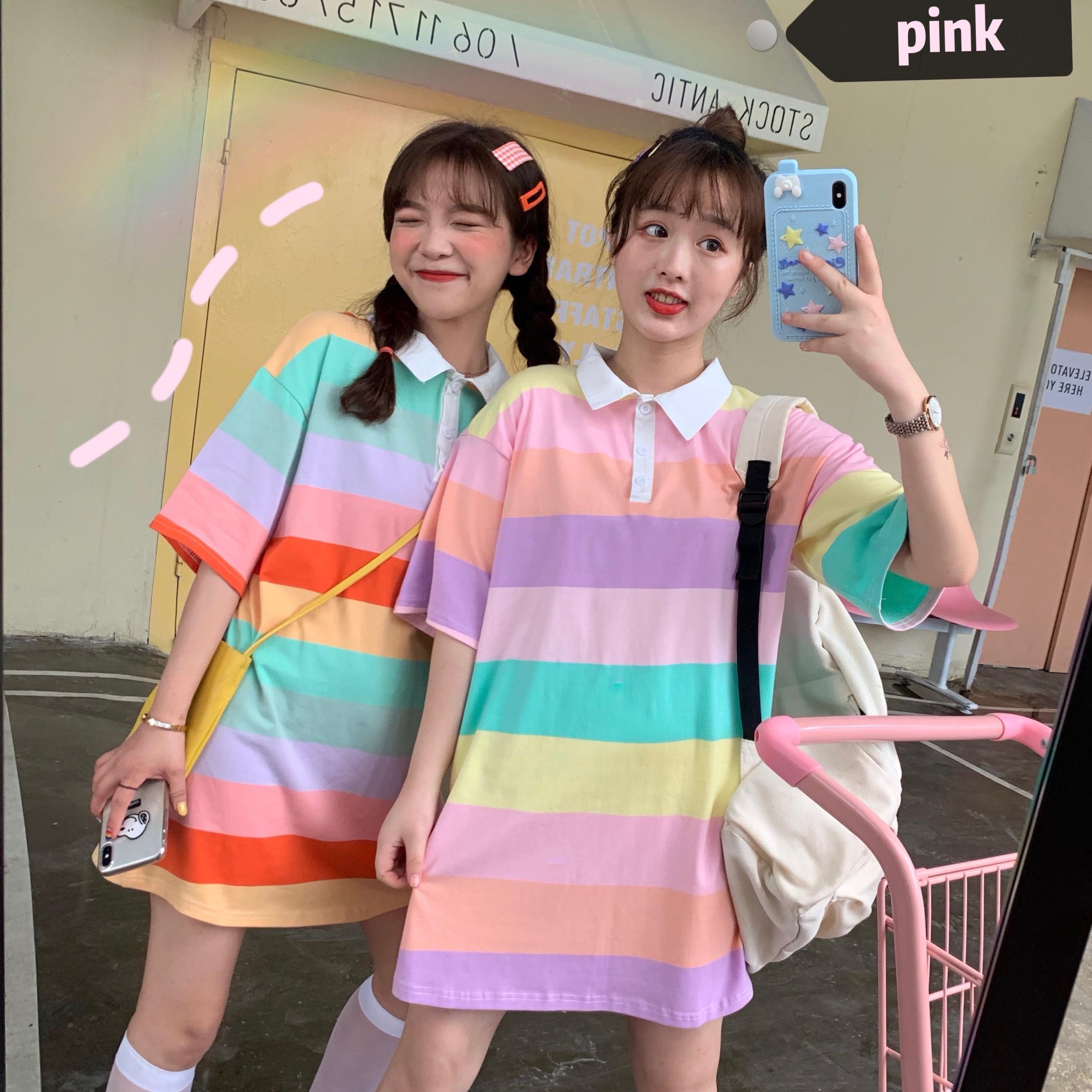 此款售价不得低于30元新款韩版学生彩条POLO领短袖T恤女