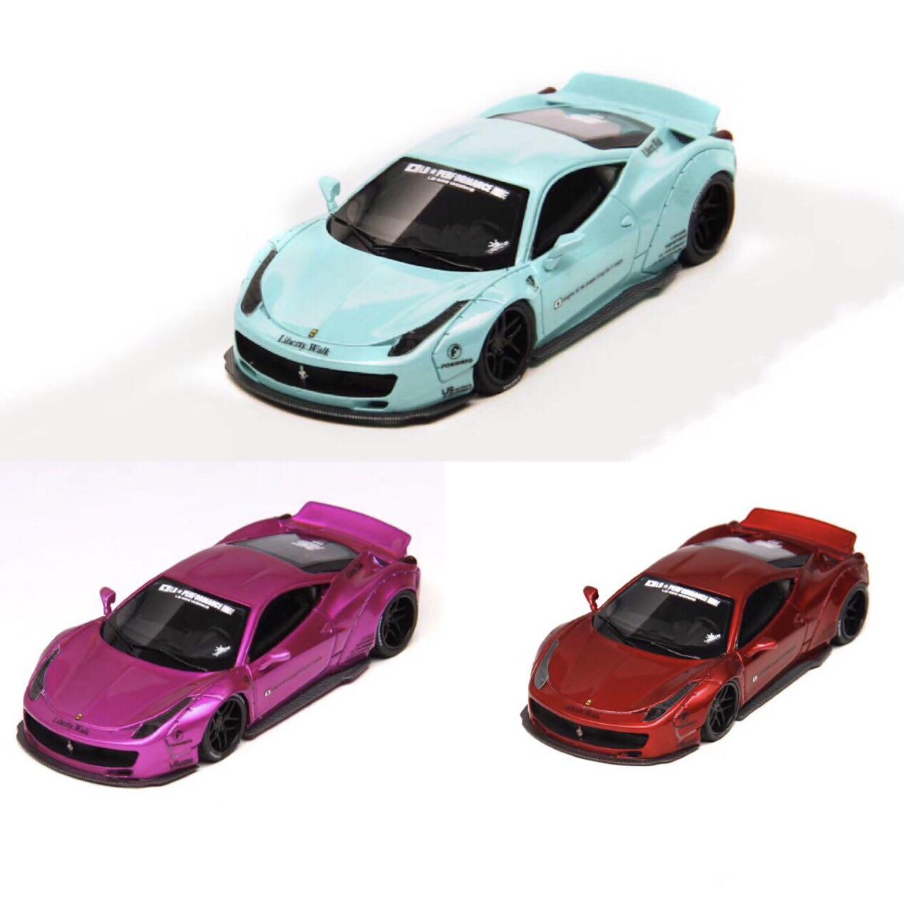 LB 1:64法拉利458 宽体树脂改装版汽车模型 提夫尼蓝 收藏摆件