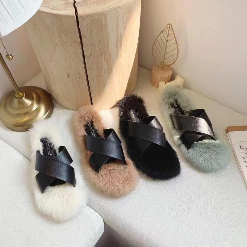 Net red ins fashion slippers for womens wear 2019 new summer and Korean student open toe fur slipper flat bottom cross drag