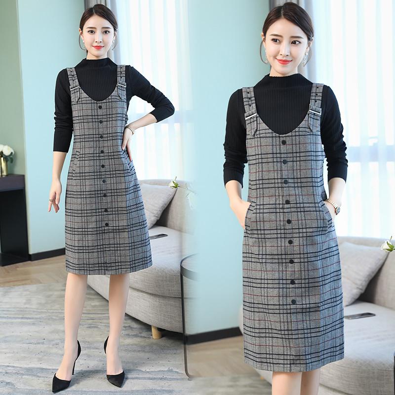 2018秋冬季新款韩版格纹长袖背带连衣裙套装小香风气质两件套39