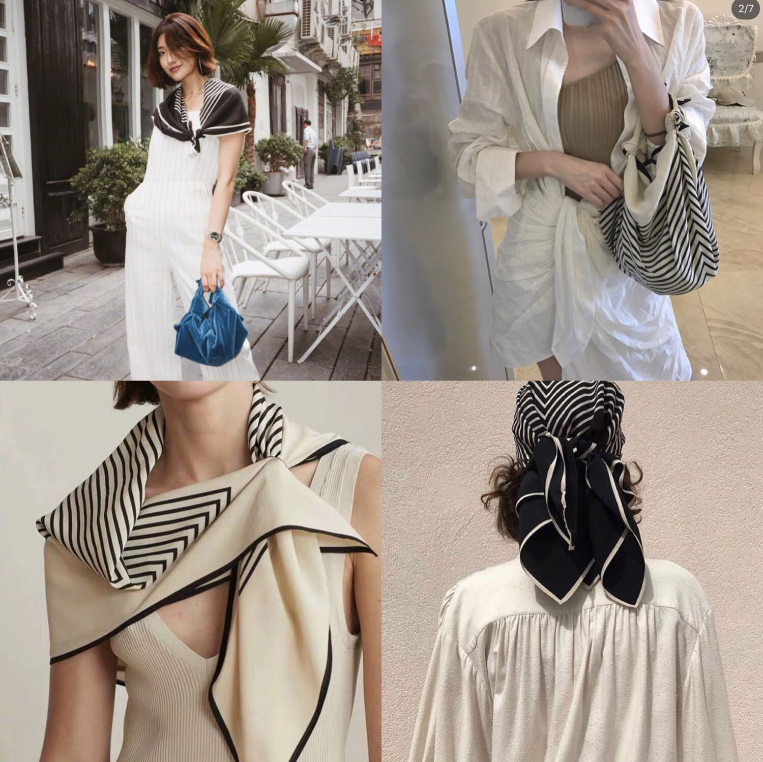 Han Ou small square scarf sunscreen neck protection spring and summer new womens beauty stripe small silk scarf professional small scarf thin hair band