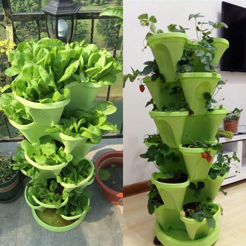 楼顶种植箱阳台菜园种菜盆多层立体种菜神器设备多层高脚花盆塑料