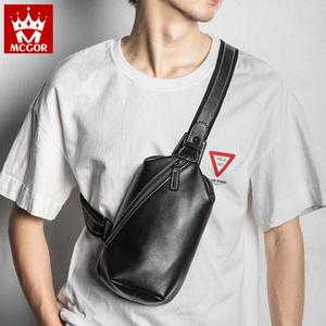 新款胸包男包真皮休闲男士单肩包斜挎包韩版腰包时尚牛皮小背包潮