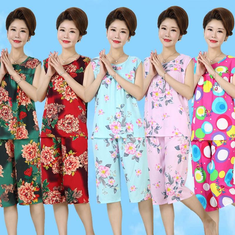 中年女装夏装睡衣女妈妈装棉绸套装夏季无袖家居服人造棉加大背心(非品牌)