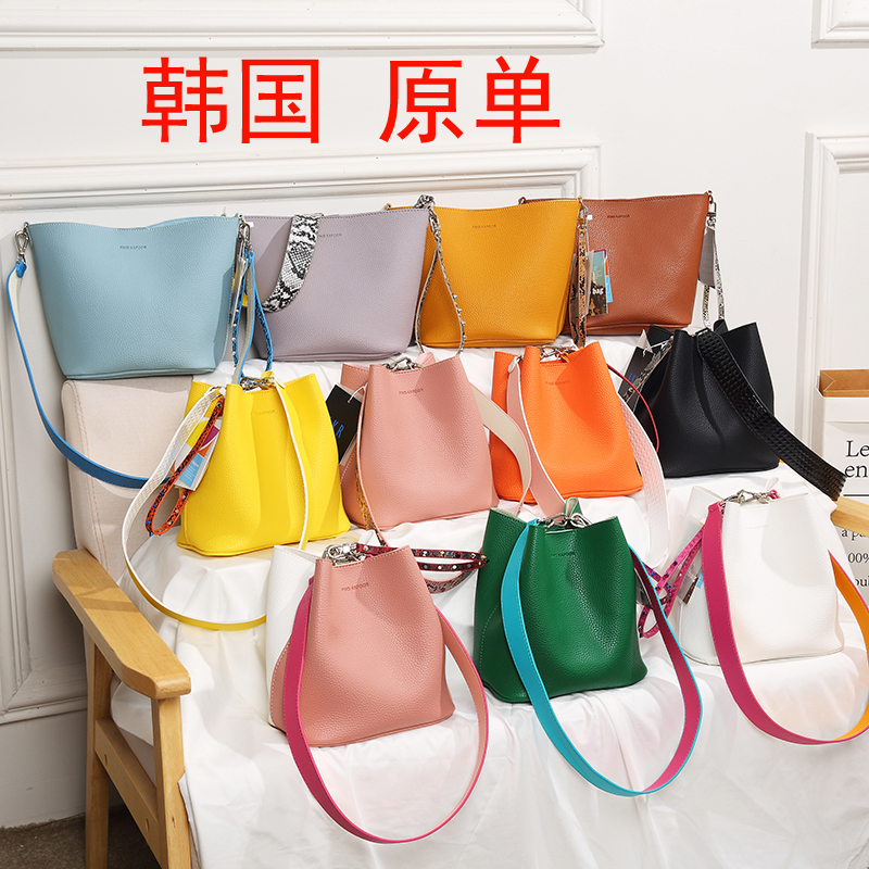 2020 new Korean wide shoulder strap bag single shoulder slant span bag portable shoulder strap womens Bucket Bag FK bag color matching bag womens bag