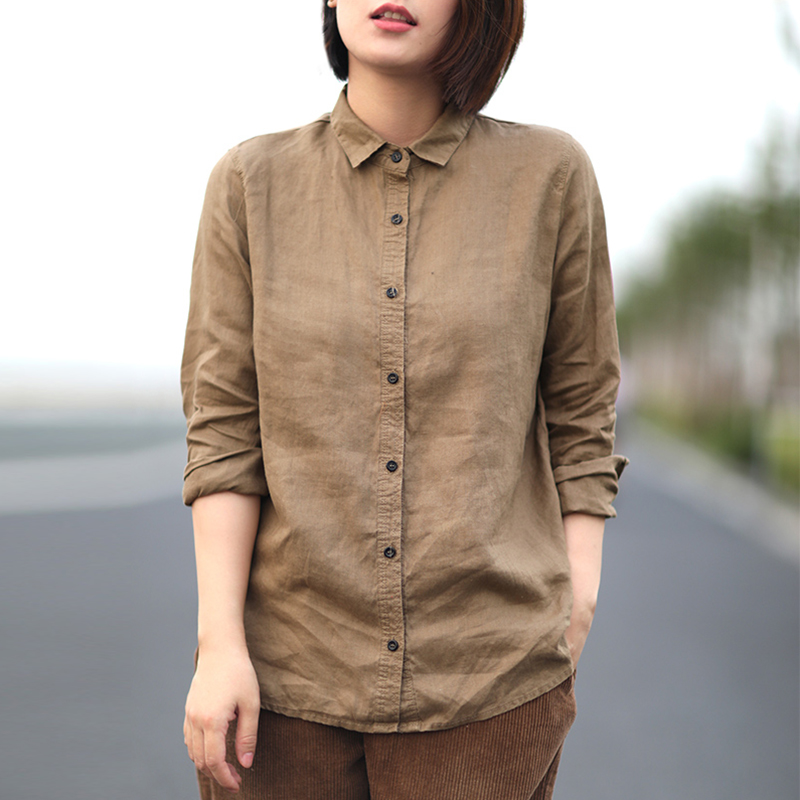 Special literature and art leisure, loose and slim, easy to wear, plain linen shirt, womens lapel, long sleeve cotton and hemp womens dress 2020 summer