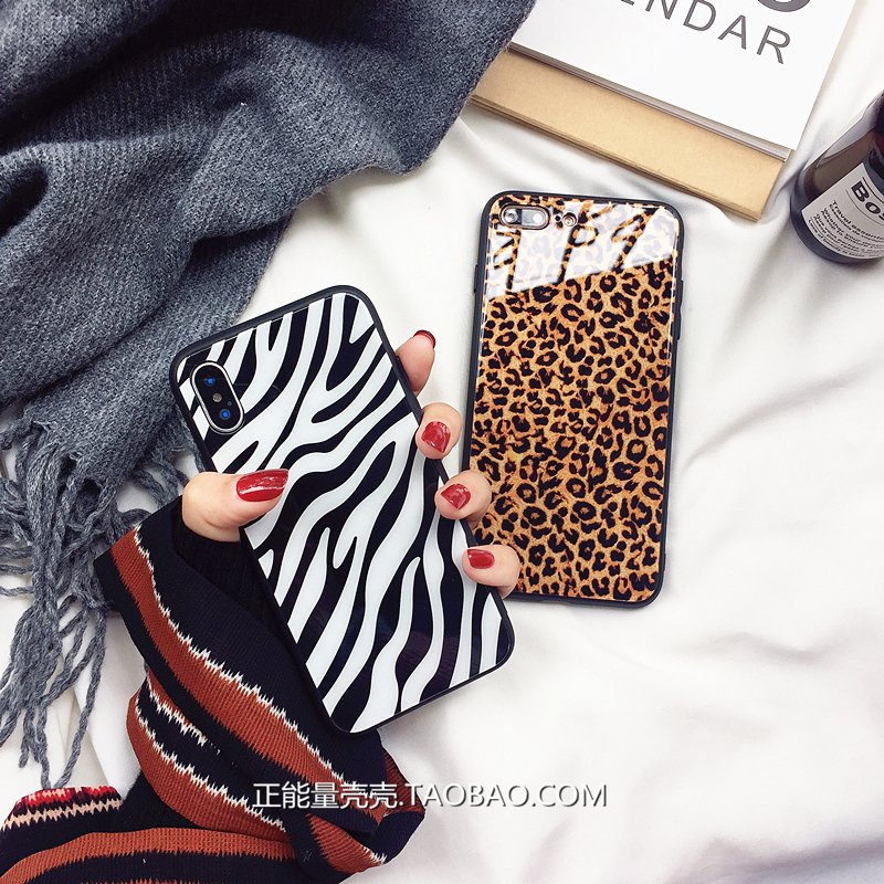 豹纹玻璃苹果x手机壳斑马iphone7plus/6s个性8p男女款潮xr/Xs max