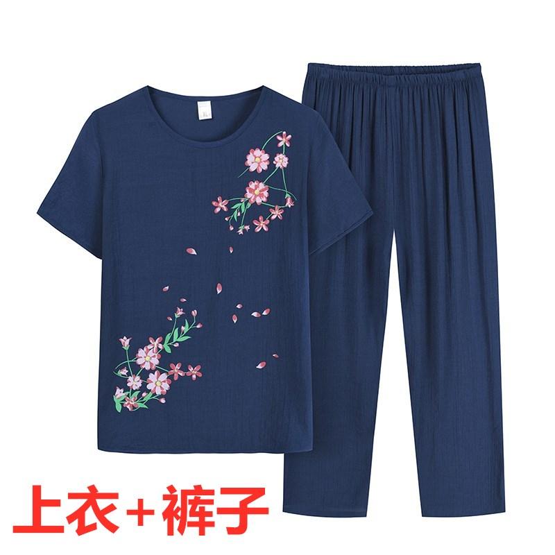 奶奶夏季套装中老年女装妈妈短袖棉麻两件套60岁老人夏天上衣裤子