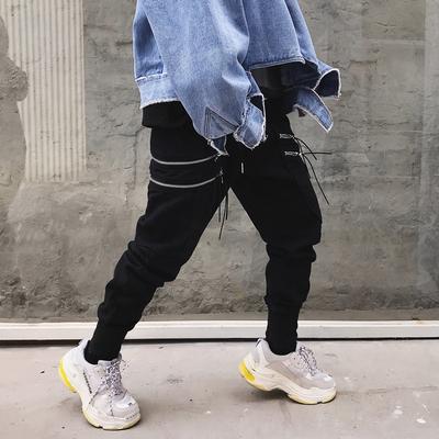 欧美高街暗黑国潮个性拉链口袋小脚哈伦裤N582 P75(不低于85)