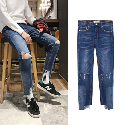 韩版复古潮流脚口破坏破洞九分裤帅气牛仔裤N500 P70(不低于80)