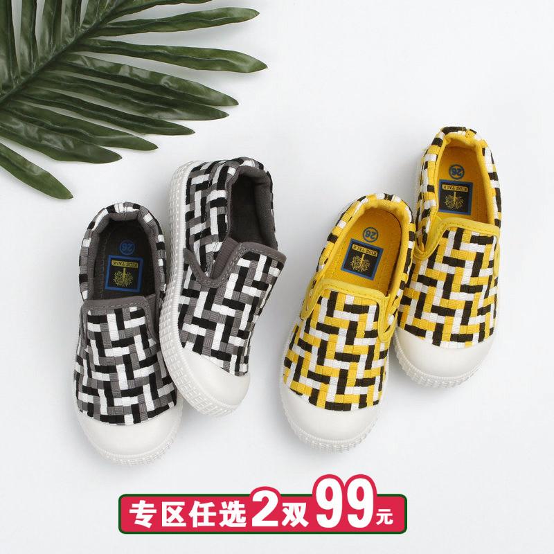 Ребенок холст обувь женщина ребенок ткань обувная женщина судно обувь педаль обувь весна корейский ребенок обувь мужчина спортивной обуви