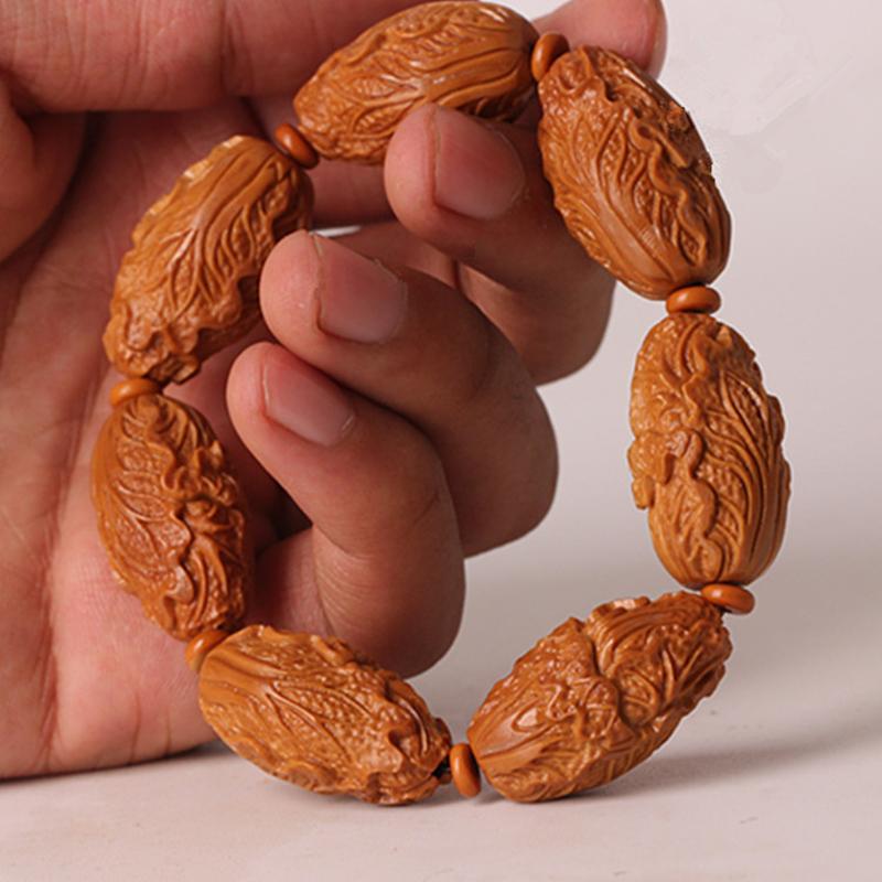 文玩橄榄核手串 男士橄榄胡原料白菜百财橄榄核雕刻财神手串手链