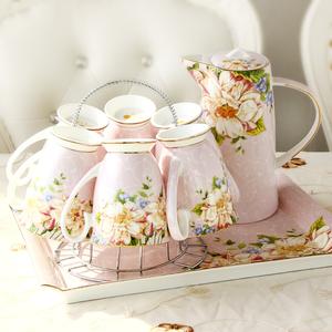 陶瓷杯具家用水杯套装 杯子托盘水壶水具欧式耐热家用冷水壶结婚