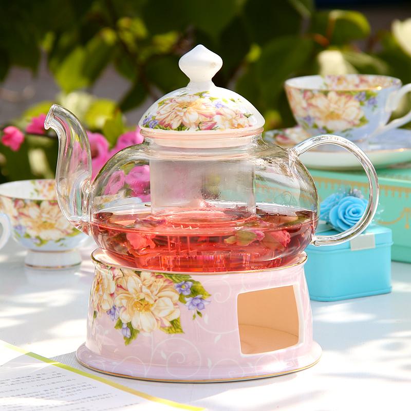 玻璃茶具套裝 骨瓷花茶壺茶杯耐熱泡茶過濾功夫茶具陶瓷茶爐