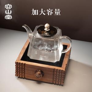 容山堂玻璃烧水壶陶瓷鎏银壶钮耐热加大容量煮茶器电陶炉茶炉茶具