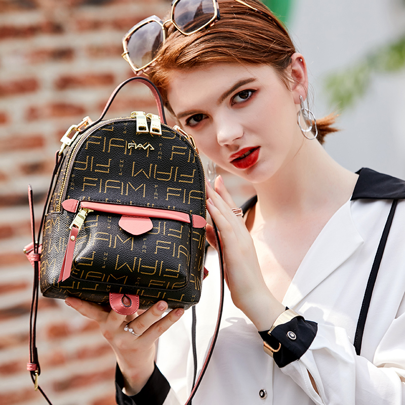 FIAM backpack womens bag new fashionable old flower net red backpack mix and match printed Mini Backpack