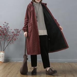 文艺复古棉麻碎花加绒外套女冬季中长款加厚宽松连帽印花蕾丝开衫