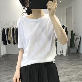 亚麻短袖白t恤女2020夏新款宽松韩国纯色打底衫透气圆领薄款上衣