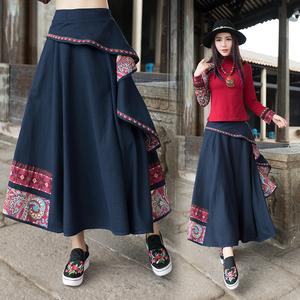 春秋装沙漠长裙少数名族服装女装民族风夏半身裙绣花云南女装丽江