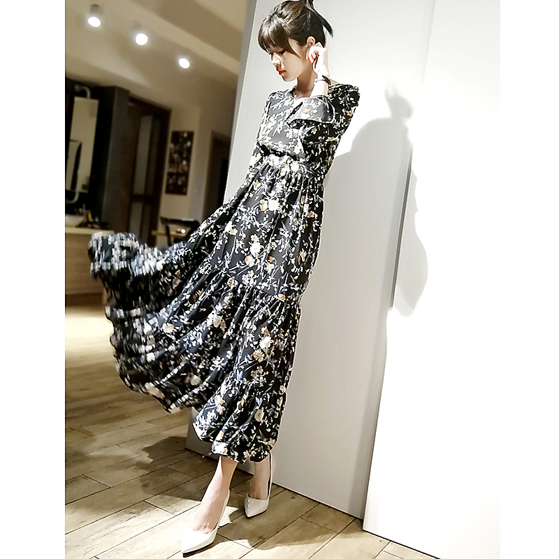 French romantic floral complex spring and summer new V-neck Daisy black elegant chiffon long dress