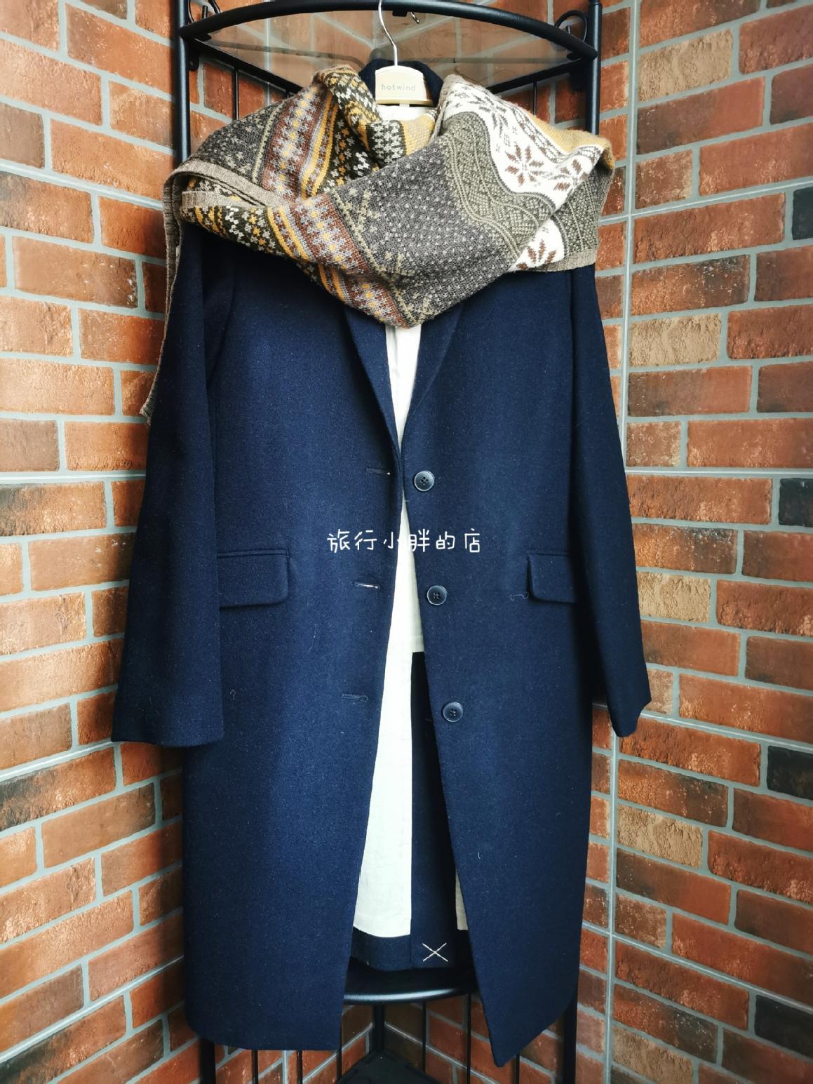 MUJI良品計画の中で長いウールのコートのチェスターのまっすぐな筒は単に女性の紺青の秋冬を掛けて郵送します。