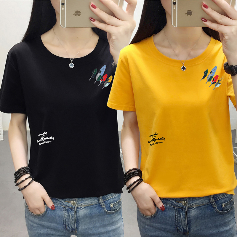 2020 summer new Korean version fattening increase pure cotton top large womens short sleeve T-shirt womens loose