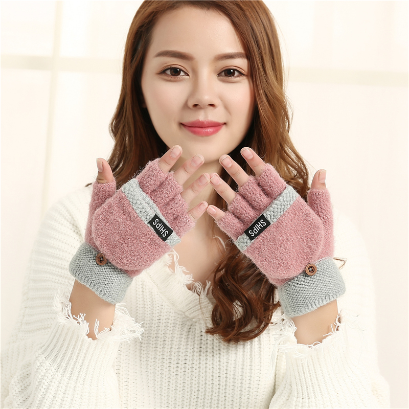 Korean cute lady gloves autumn and winter student cartoon thickened warm five finger flip knitting wool showing Half Finger