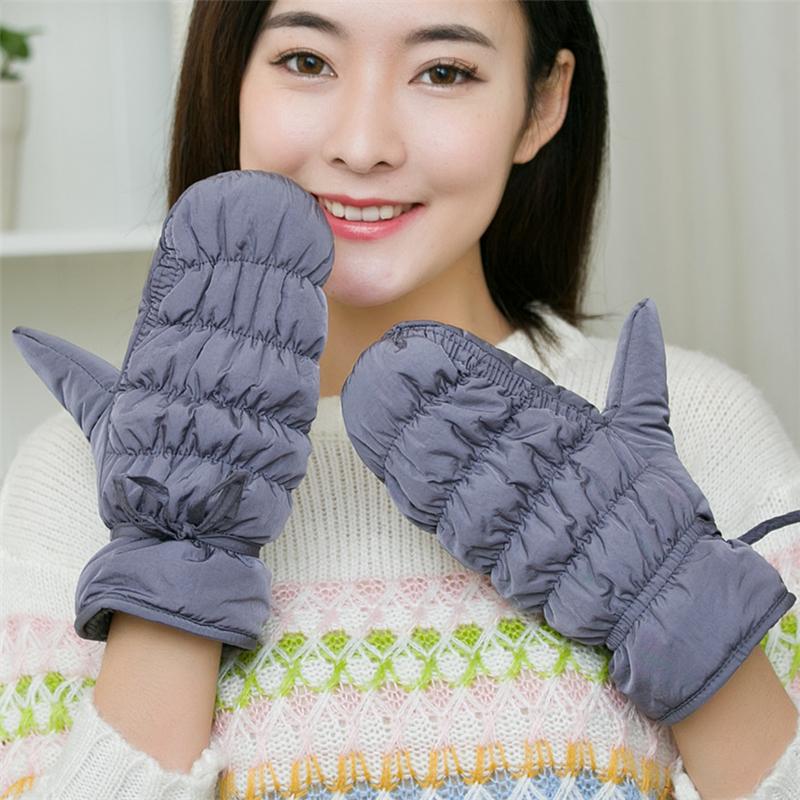 羽绒棉手套女冬加厚 保暖学生户外韩版可爱全指加绒滑雪骑行手套