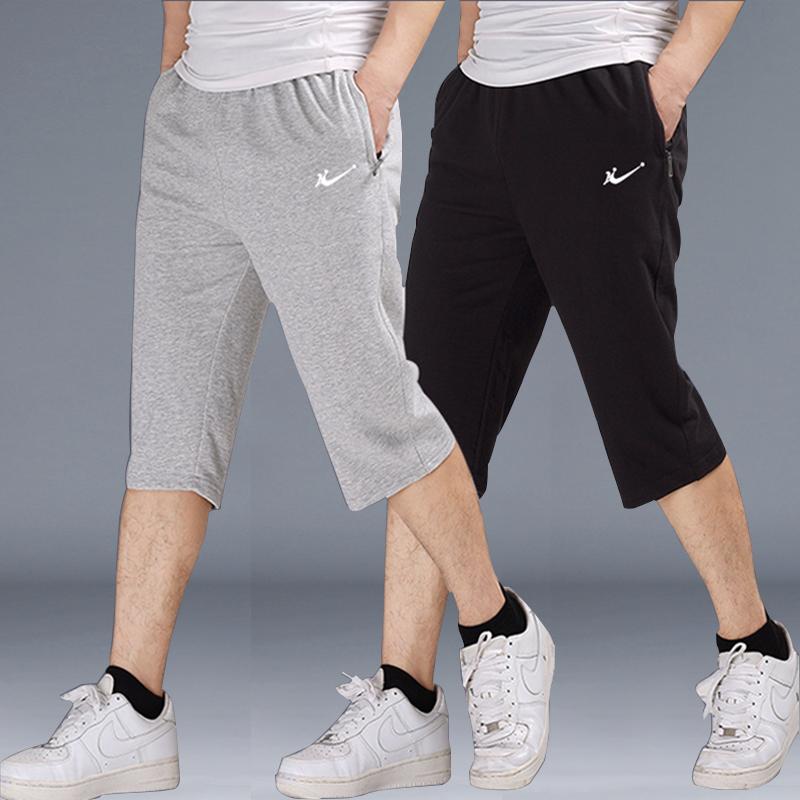 Capris mens summer thin pure cotton shorts fatten up 7-point pants loose guard pants work clothes sports pants