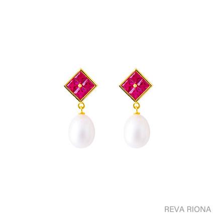 Riona 系列小众设计感2020新款复古红宝石淡水珍珠女全新气质耳环