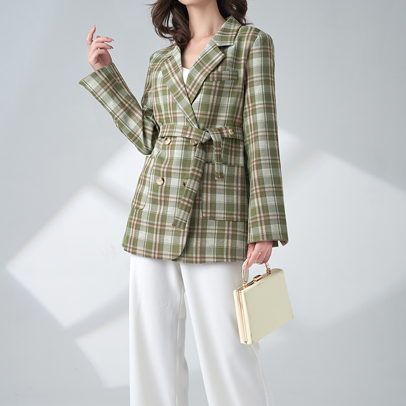 Avocado Green temperament thin Plaid autumn 2020 new coat womens spring and autumn ancient checked loose Blazer
