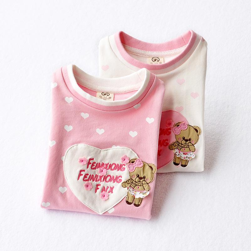 Девочки весна свитер 2018 новый ребенок верхняя одежда с длинными рукавами ребенок свитер девушка корейский T футболки лайка