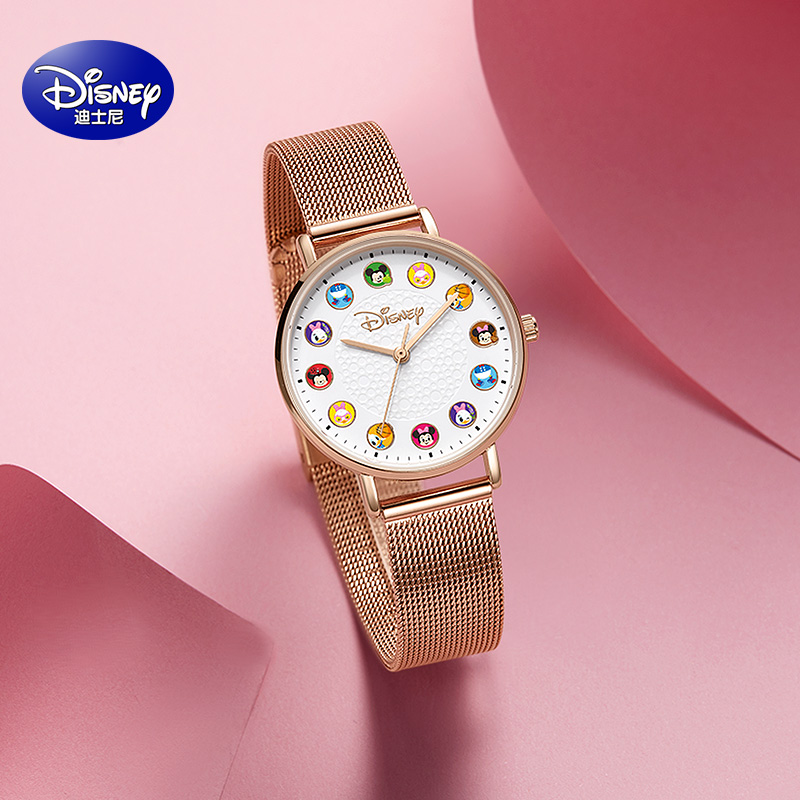 Disney childrens watch female cartoon waterproof cute primary and secondary school students Mickey co branded canvas watch female ins style