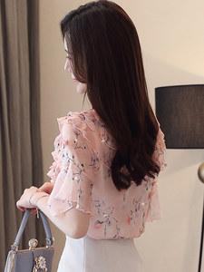 2019夏装新款碎花雪纺衬衫女士短袖T恤上衣洋气时尚气质超仙小衫