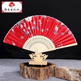 古典中国风特色女式绸缎折扇日用女扇 中式和风绢布扇印花工艺扇