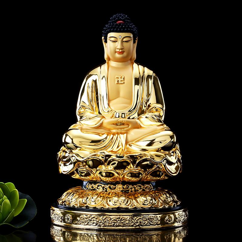 台湾鎏金纯铜释迦牟尼佛像家用供奉如来佛祖佛堂铜像娑婆三圣摆件