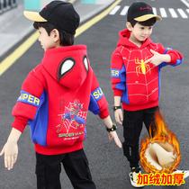 儿童装男童秋装卫衣2021新款中小童男孩秋冬季加绒加厚蜘蛛侠上衣