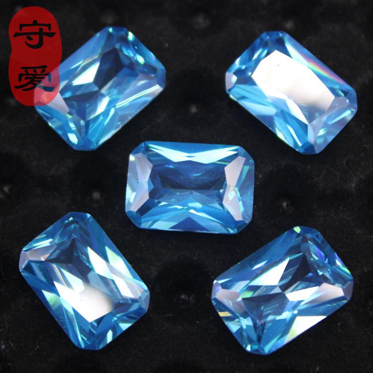 天然托帕石裸石原石 蓝色瑞士蓝托帕石戒面 蓝宝石 长方形倒角