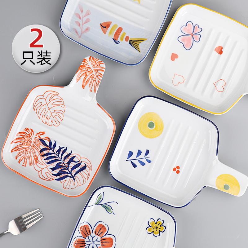烤盘2只装日式好看家用陶瓷牛排盘子北欧ins西餐餐具烤箱菜盘餐盘