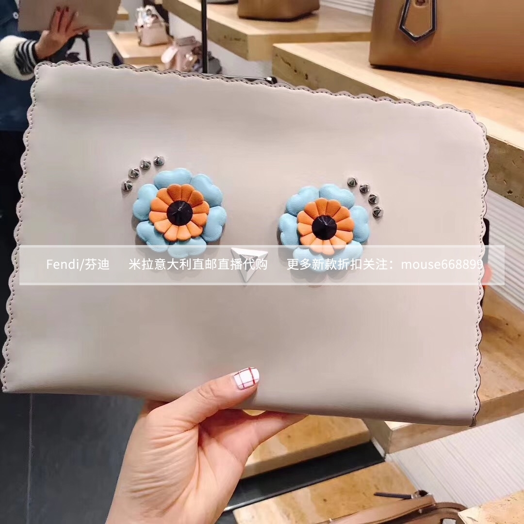 FENDI芬迪 新款时尚简约花朵眼睛手提包手拿包百搭包