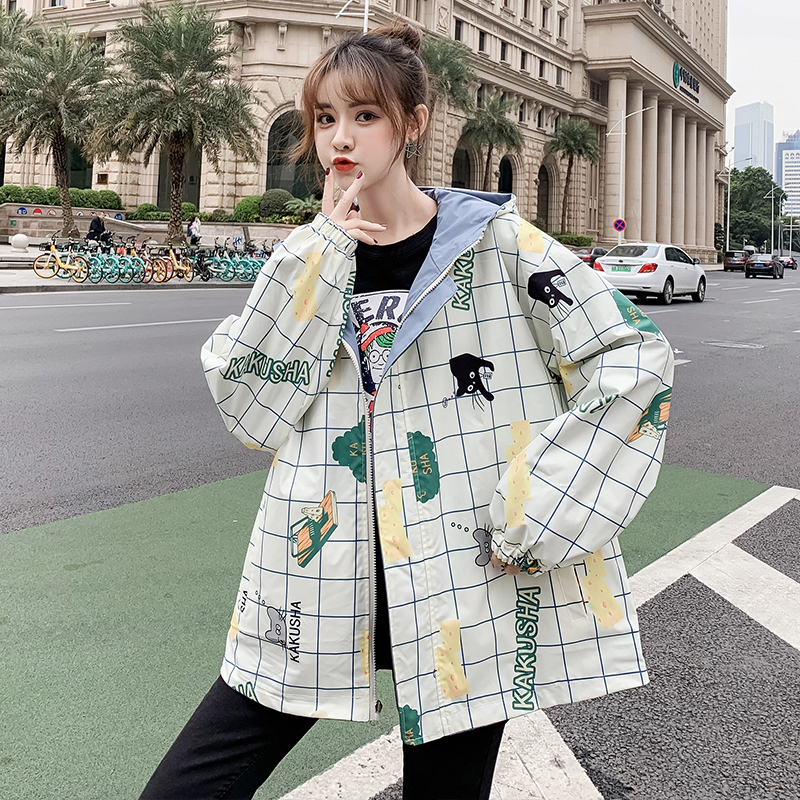 Double jacket womens jacket spring and autumn 2020 new Korean version of ulzzang loose student hooded baseball uniform