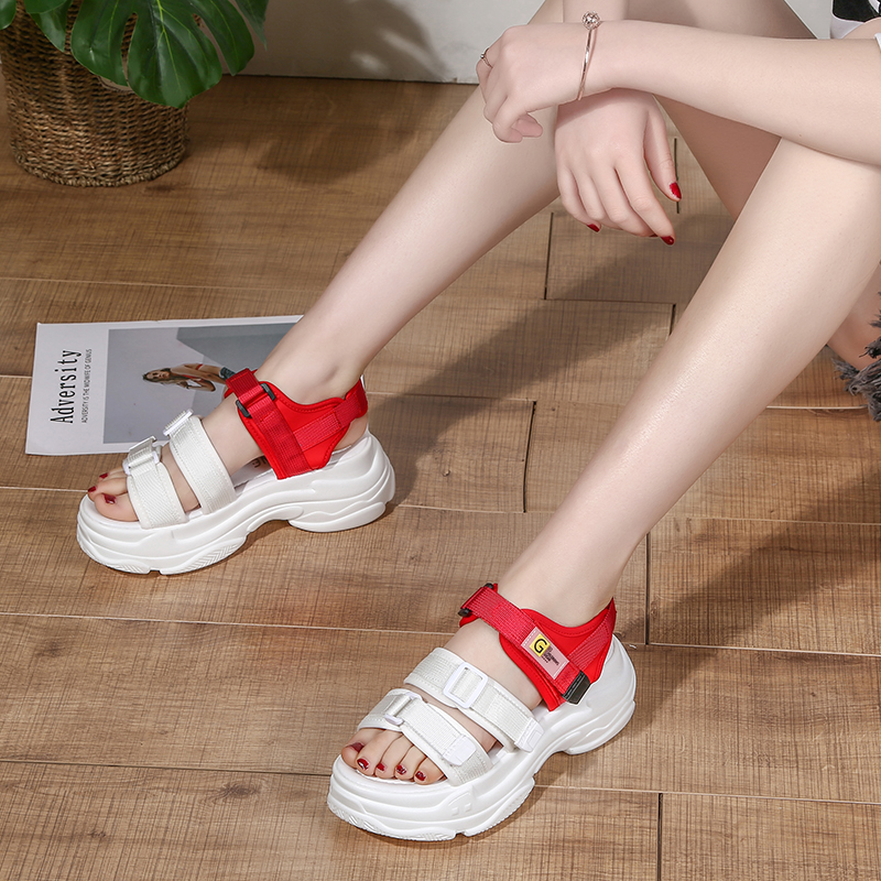 Summer sandals womens fashion summer thick soled sports net red sandals fairy style versatile beach shoes womens casual shoes
