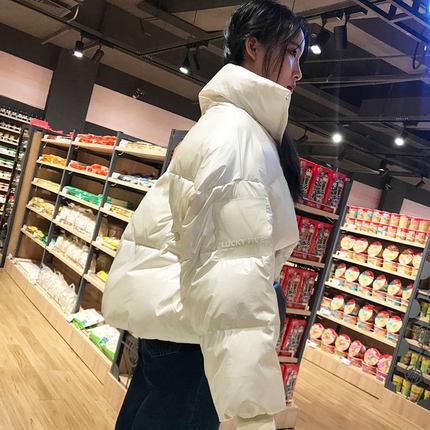 羽绒棉衣女韩版新款2018冬学生棉服短款蓬蓬加厚面包服外套亮面潮